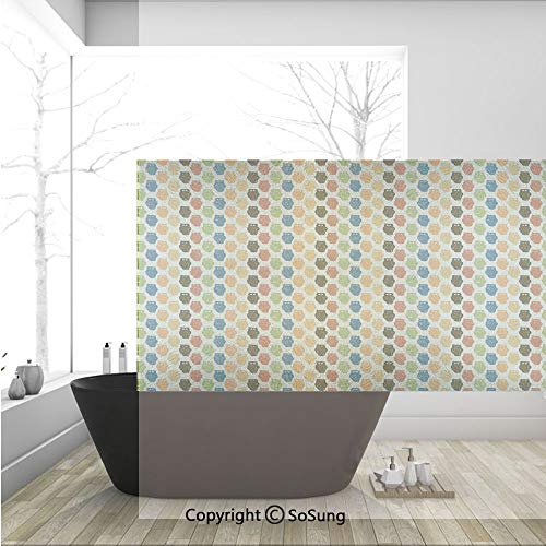 3D Decorative Privacy Window Films,Retro Styled Colorful Animal