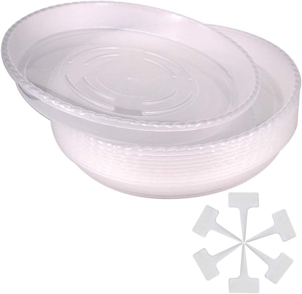 Belinlen 10 Pack 12 Inch Durable Plastic Plant Saucer Drip Trays Plastic Plant Pot Saucers Flower Pot Set for Indoor Outdoor Garden with 10 Pcs Plant Labels
