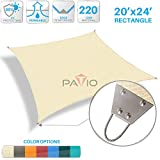 Patio Paradise 20'x 24' Strengthen Large Sun Shade Sail Reinforced by Steel Wire- Beige Rectangle Heavy Duty Permeable UV Block Fabric Durable Patio Outdoor Garden Backyard