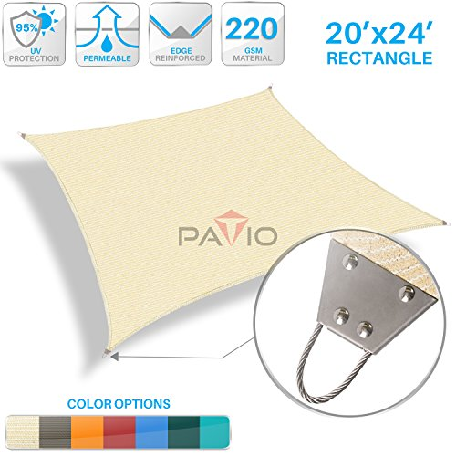 Patio Paradise 20'x 24' Strengthen Large Sun Shade Sail Reinforced by Steel Wire- Beige Rectangle Heavy Duty Permeable UV Block Fabric Durable Patio Outdoor Garden Backyard by Patio Paradise