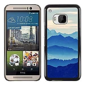 TaiTech / Prima Delgada SLIM Casa Carcasa Funda Case Bandera Cover Armor Shell PC / Aliminium - Montañas Nubladas - HTC One M9