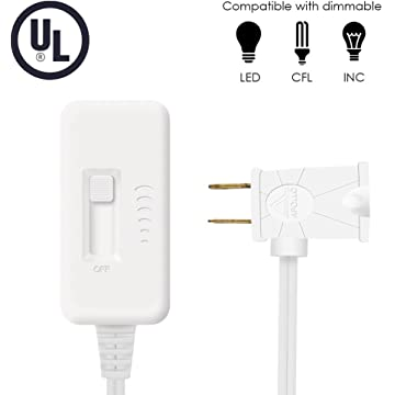 MFW Plug-In Dimmer Switch with Long Cord for dimmable LED/CFL, Halogen and Incandescent Bulbs, Slide Control LED Lamp Dimmer Switch, White