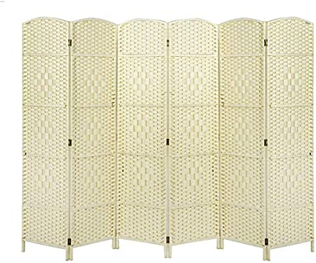 6 panel de la pantalla separador de ambientes muebles pura partición de pantalla de privacidad de mimbre tejidas a mano plegable pasta decorativa,Beige: Amazon.es: Hogar