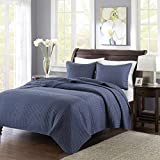 Madison Park Keaton Full/Queen Size Quilt Bedding Set - Navy, Quilted – 3 Piece Bedding Quilt Coverlets – Ultra Soft Microfiber Bed Quilts Quilted Coverlet