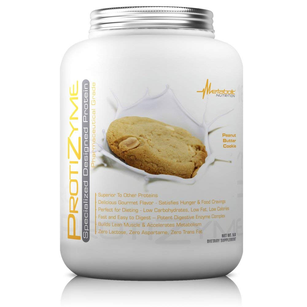 Metabolic Nutrition, Protizyme, 100 Whey Protein Powder, High Protein, Low Carb, Low Fat Whey Protein, Digestive Enzymes, 24 Essential Vitamins and Minerals, Peanut Butter Cookie, 5 Pound ser