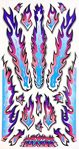 (Rad Decalz - Blazer - Neon Blue, Pink and Purple Flames - 18 Sticker Decal Set )