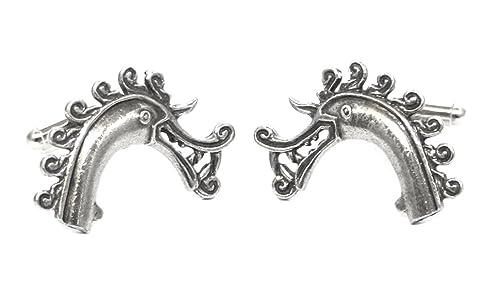 Mancuernas de la cabeza de dragón vikingo, bien peltre Inglés, hecho a mano,