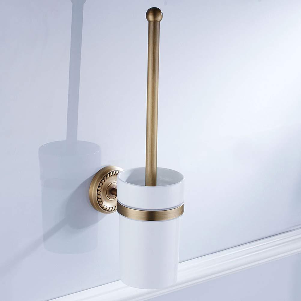 Montaggio a Parete TOPBATHY Scopino per WC in Ottone Anticato con portascopino in Stile Europeo