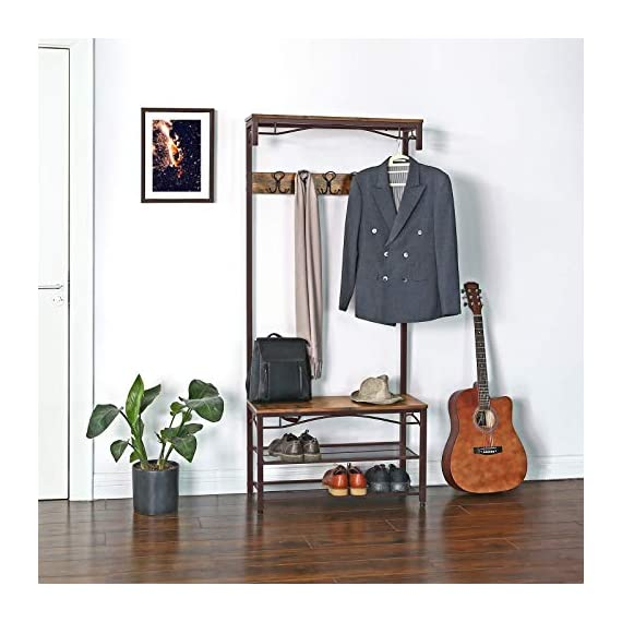 VASAGLE Industrial Coat Rack, 3-in-1 Hall Tree, Entryway Shoe Bench Accent Furniture Metal Frame Large Size UHSR45AX, Rustic Brown (Renewed) - WELCOMES YOU HOME: Eliminate the mess in your hallway with this smart coat shoe rack; perfect balance of clean lines, modern elegance and effortlessly rustic appeal EVERYTHING YOU NEED: After coming back home at the end of the day, just hang your coat, hat and scarves on the top 5 dual hooks, sit on the bench to remove your shoes and put them on the 2 metal mesh storage shelves STABLE AND SAFE: With 4 adjustable feet, the coat rack can stand perfectly stable on carpets or uneven floors; 2 anti-toppling straps are included to ensure safe use - hall-trees, entryway-furniture-decor, entryway-laundry-room - 51XaGmS8rtL. SS570  -
