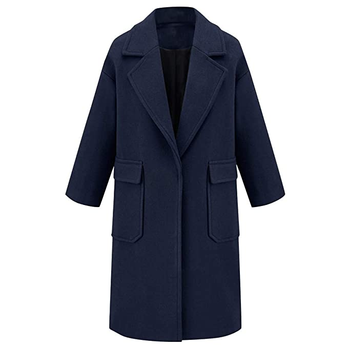 Vintage Coats & Jackets | Retro Coats and Jackets QIQIU Womens Wool Lapel Winter Trench Solid Big Pocket Long Trench Overcoat Elegant Loose Outwear Coat $41.95 AT vintagedancer.com