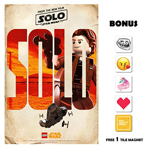 SOLO A Star Wars Story Movie Poster 13 in x 19 in Poster Flyer BORDERLESS - Lego Han Bonus Free 1 Tile Magnet