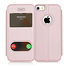 iPhone SE Case, iPhone 5S Case, iPhone 5 Case, FYY Magnetic Smart Cover Stand Case with Window View Function for Apple iPhone SE/5S/5 Rose Gold