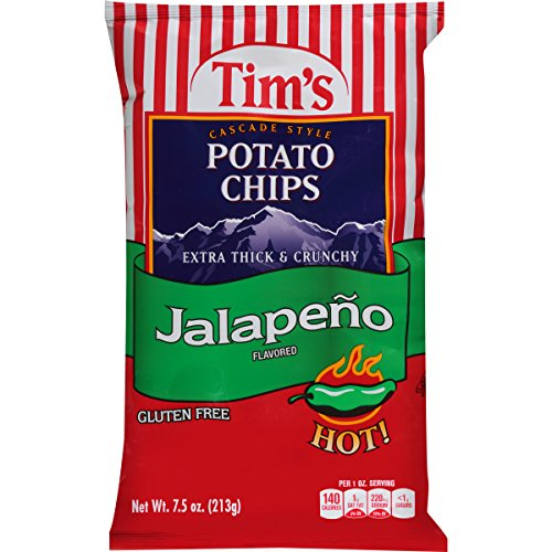 Tim's Cascade Style Potato Chips, Jalapeno, 7.5 Ounce