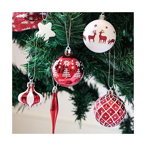 Victor's Workshop 70 Pezzi di Palline di Natale, 3-6 cm Tradizionali Ornamenti di Palle di Natale Infrangibili Rossi e Bianchi per la Decorazione Dell'Albero di Natale 4 spesavip