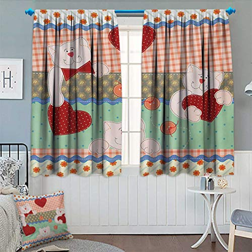 hic Window Curtain Fabric Funny Teddy Bears with Hearts in Patchwork Style Cute Kids Theme Design Print Drapes for Living Room 55