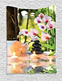 Ambesonne Spa Decor Tapestry Wall Hanging, Massage Composition Spa with Candles, Orchids, Stones in Garden, Bedroom Living Room Dorm Decor, 60 W x 80 L inches