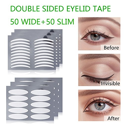 MS.DEAR Double Sided Double Eyelid Tape,100PACKS, Invisible Fiber Double Eyelid Tape Stickers (50 Pairs Slim + 50 Pairs Wide) (Lift Surgery Eyelid)