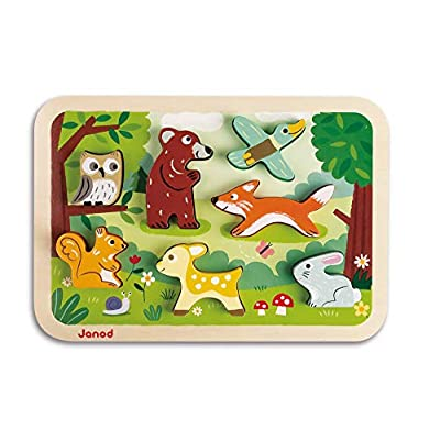 Janod Chunky Stand Up Puzzle - 7 Piece Colorful Wooden Forest Animal Themed Jigsaw Puzzle - Encourages Shape Recognition, Dexterity, and Language Development - Preschool Kids and Toddlers 18 Months+: Toys & Games