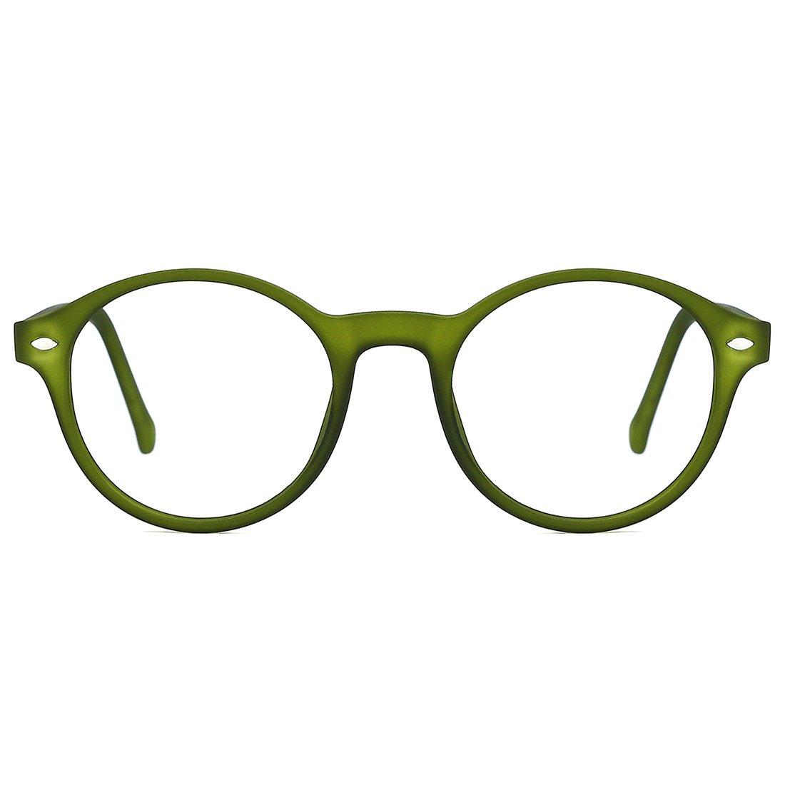 TIJN Men Women Classic Round Non-prescription Glasses Frosted Eyeglasses Frame (green, 48)
