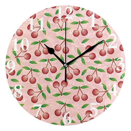 HangWang Wall Clock Pink Cherry Silent Non Ticking Decorative Round Digital Clocks for Home/Office/School Clock
