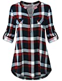 Womens Tops and Blouses Plus Size Clothing Zipper Up Polo Collar Roll Tab Sleeve Tunic Tops Stylish Casual Wear Prime Utility Color Block Shirttail Plaid Soft Jersey Knit Henley Shirt Red XL