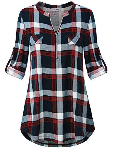 Tunics for Women Plus Size, Women's Tops Band Collar Cute Zip V...