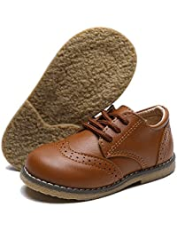 Baby Toddler Boys Girls Oxford Shoes PU Leather Infant First Walker School Uniform Outdoor Dress Shoes (Toddler/Little Kid)