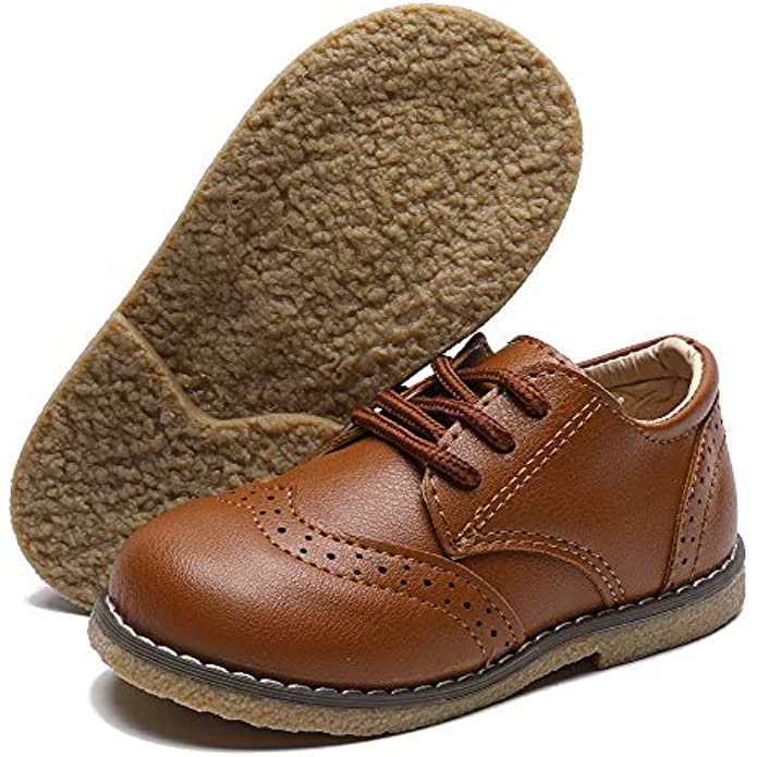 E-FAK Toddler Boys Girls Oxford Shoes Lace-Up PU Leather School Uniform First Walker Outdoor Dress Flat Loafer Shoes(Toddler/Little Kid)