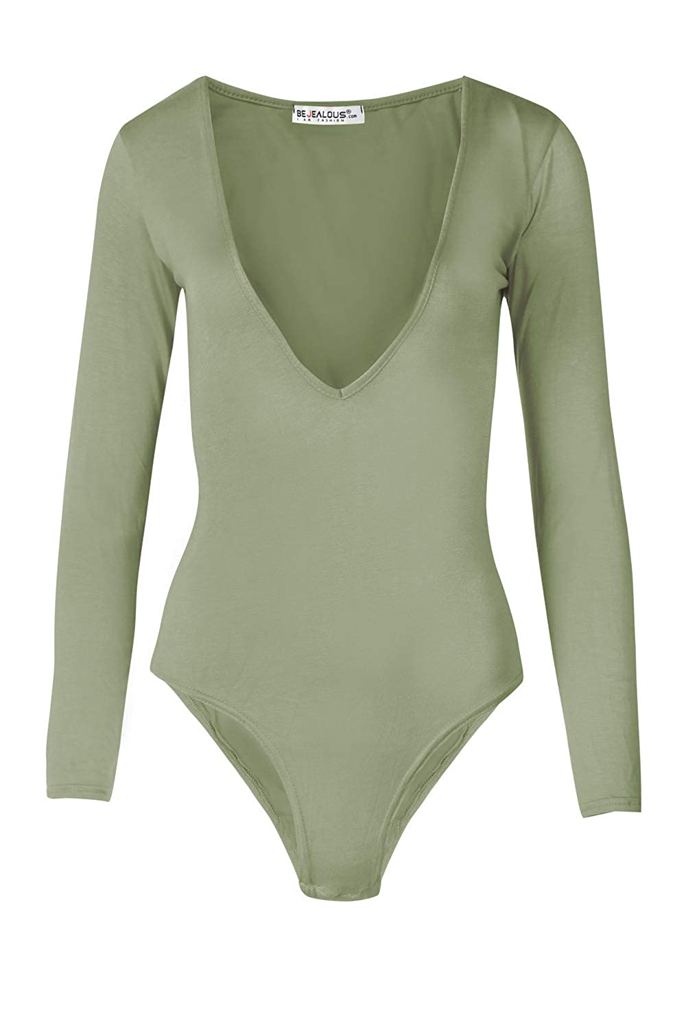 Womens Ladies Long Sleeve Plunge V Neck Low Side Back Bodysuit Leotard Top Khaki