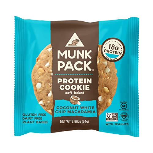 Munk Pack Vegan Protein Cookie   Coconut White Chip Macadamia   2.96 Ounce   Soft Baked, Gluten, Soy and Dairy Free with 18 Grams of Protein   One Cookie   Pack of 1