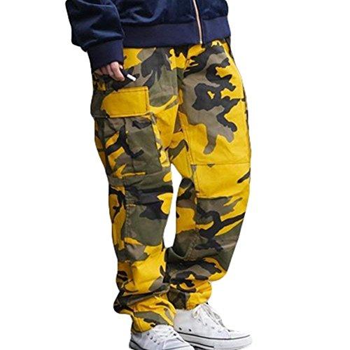 Outdoor Pantaloni Pantaloni Sportivi Mode Casual Sportivi Donna Militari Pantaloni Sciolto BOLAWOO Esercito Training di Pantaloni Fashion Jogging Tuta marca Pantalone Gelb Eleganti Cargo Uomo nFOUB6