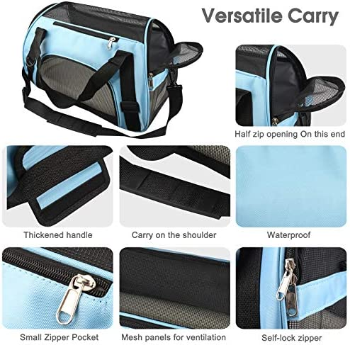 PUBAMALL Pet Carriers, Portador de Gatos, Bolsa de Mascotas Plegable portátil para Perros, Cremallera bloqueable y Bolsa de Hombro (M: 47 * 30 * 23 cm, Azul con tapete) 5
