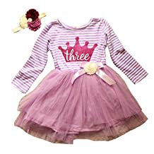 Long Sleeve 36m Birthday Dress with Handmade Headband