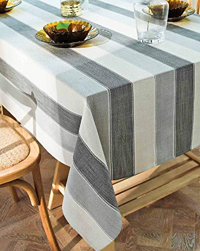 Deep Dream Tablecloths,Dyed Stripe Table Cloth,Cotton Linens Wrinkle Free Anti-Fading,Table Cover Decoration for Kitchen Dinning Party (Rectangle/Oblong, 55''x86'',6-8 Seats, White&Gray)