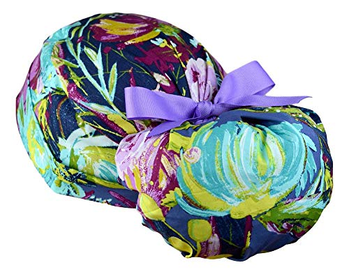 Womens Ponytail Surgical Scrub Hat Large (Midnight Garden)