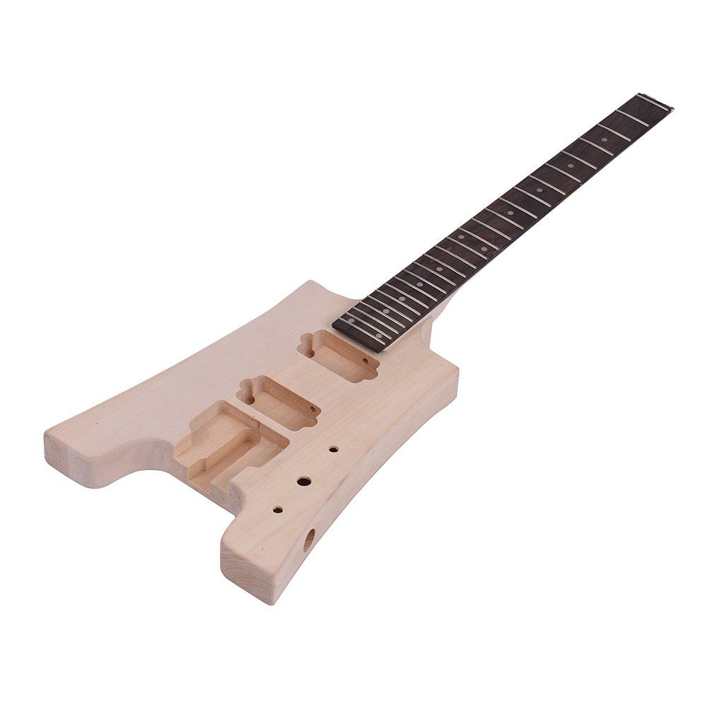 ammoon Guitarra Eléctrica Bricolaje Sin Terminar Kit de Cuerpo de Tilo Diapasón de Palisandro Cuello de Arce Diseño Especial sin Cabezal: Amazon.es: ...