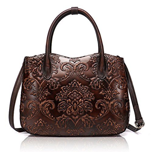 - APHISON Designer Hand Bags Unique Embossed Floral Women's Header Layer Cowhide Wallets (CHOCOLATE)