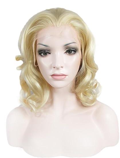 Imstyle sintético Lace Front Side parte corto rizado ondulado peluca rubia Drag Queen Cosplay Pelucas
