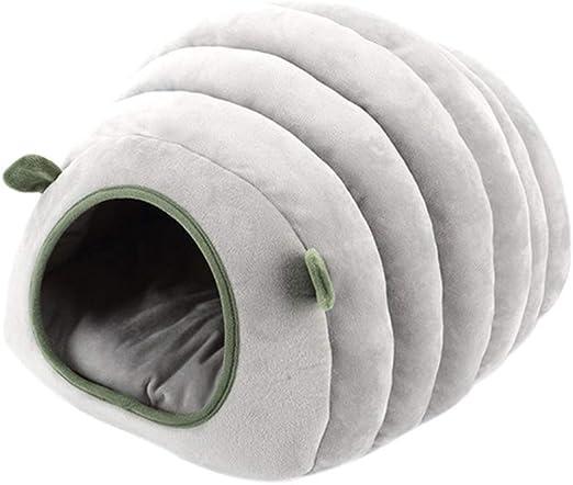 TKJJ Linda Mascota Gato casa Cama para Perros Oruga hámster algodón Cama Suave Cachorro Cama para Dormir Caliente Invierno Cerrado Nido de Mascotas XS Gris: Amazon.es: Productos para mascotas
