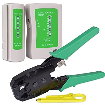 Network Cable Tester with RJ-45/RJ-11 Crimping Tool - Retail Hanging Packages