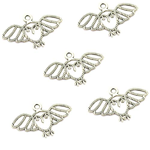 100 pcs Vintage Antique Silver Alloy Cute Animal Owl Bird Charms Pendant Jewelry Findings for Jewelry Making Necklace Bracelet DIY 27x15mm(100pcs Silver)