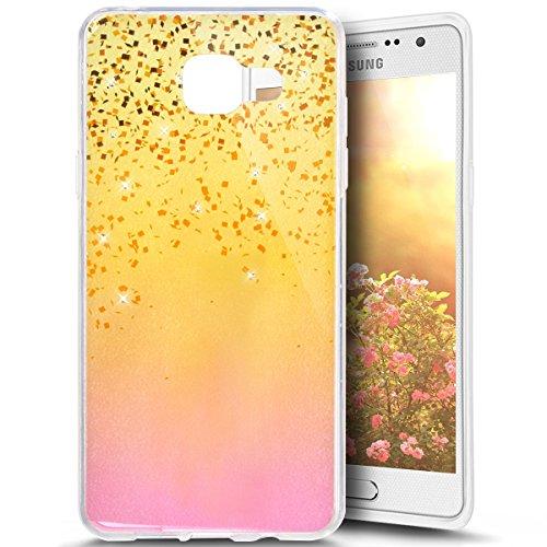 Funda para Samsung Galaxy A32016, Samsung Galaxy A32016funda, ukayfe Samsung Galaxy A32016silicona Carcasa Funda teléfono móvil Cereza Flores Mariposa Patrón Bling brillante brillante cristal dia Gold Pailletten