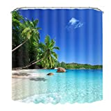 Beach Shower Curtain Malicosmile Beach Shower Curtains for Bathroom, Fabric Bath Curtains Shower, Mildew Resistant Washable Seaside Scene Shower Curtain with Hooks 72 x 72 Inch