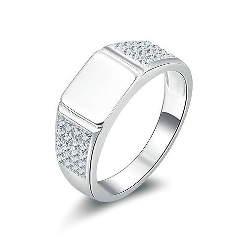 Daesar Joyería Anillo Compromiso de Plata Hombre, Pulido Rectángulo Alianzas Boda de Plata Diamantes Anillo