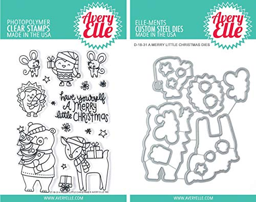 Avery Elle A Merry Little Christmas Clear Stamps and Dies Set - Two Item Bundle ()