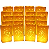 20pcs Luminary Candle Bags Special Lantern Luminary Bag with Duo Heart Durable and Reusable Fire-Retardant Cotton Material Superb for Wedding Valentine Reception Engagement Event or Marriage Proposal