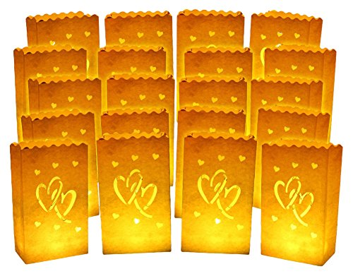 20pcs White Luminary Candle Bags Special Lantern Luminary Bag with Duo Heart Durable and Reusable Fire-Retardant Cotton Material for Wedding Valentine Reception Engagement Marriage Proposal Event -