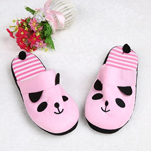 Bluester Women Lovely Cartoon Panda Home Floor Soft Stripe Slippers Female Shoes Pink f4zrDYMG