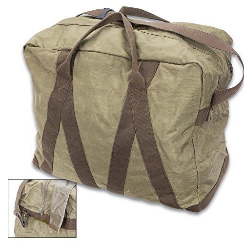 German Army Pilot Bag (X-Large Duffel), OD - Genuine Military Surplus; Used/Great Condition - Cordura Nylon - Heavy Duty Zipper - Cotton Canvas Handles, Adjustable Shoulder Strap - 22