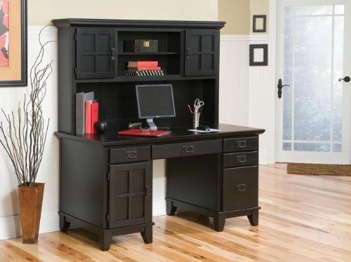 Arts and Crafts Pedestal Computer Desk and Hutch, Cottage Oa